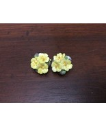 VINTAGE DAINTY MADE IN ENGLAND PORCELAIN YELLOW FLOWER CLUSTER CLIP EARR... - $24.75