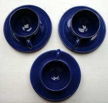 You Pick vintage COBALT Fiestaware CUP & SAUCER SET navy blue pin marks ... - $6.75