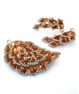WEISS Brown Rhinestone Pin & Clip Earrings Demi Parure, Rhinestone Leaf,... - $205.00