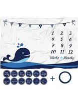 "Baby Monthly Milestone Blanket with 12 Stickers, Large 60""x40"" Infant Mo... - $24.82"