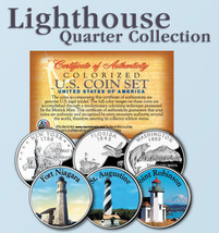Historic American * LIGHTHOUSES * Colorized US Statehood Quarters 3-Coin... - $9.85