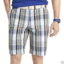 IZOD Plaid Poplin Shorts New Msrp Size 36W Cedarwood Khaki - $21.99