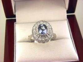 Effy Collection Topaze Bleu et Diamant Bague 14K or Blanc Sz 6.75 - $725.23