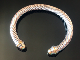 David Yurman 925 Sterling Silver GOLD DOME ENDS & 14k Gold 7mm Cable Classic - $449.99