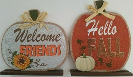Autumn Thanksgiving Décor Burlap Pumpkin Stand Boards, Select: Theme - $2.99
