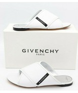 NIB Givenchy Paris Rivington Logo White Leather Crisscross Flats Sandals... - $325.00