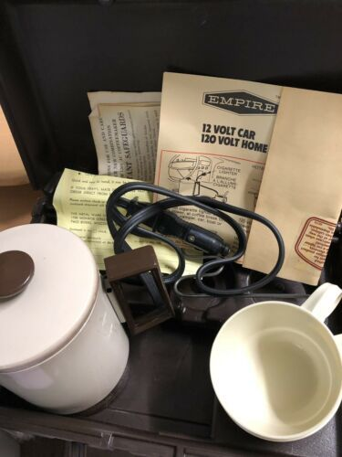 """Vintage EMPIRE """"Home'n Away"""" Coffeemaker Travel Kit with 12 volt CAR Accessory"""