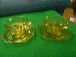 Great Collectable Depression Glass 2 SETS Amber CUP & SAUCER Madrid Pattern - $13.93