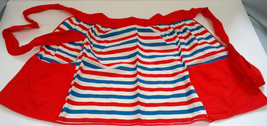 vintage handmade red white and blue two pocket  half apron - $12.17