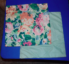 Pair of Green Pink Flower Decorative Print Throw Pillows  15 x 15 - $49.95