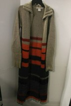 Free People Women's Long Knit Cardigan Size S/P Boho Hippie Sweatercoat Maxi image 1