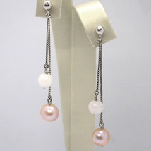 Pendientes Colgantes Oro Blanco 18K, Doble Cadena, Perlas Violeta, Cuarzo Rosa image 1