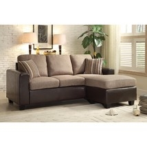 DualTone Reversible Sofa Chaise With Two Accent Pillows, Brown - $974.48