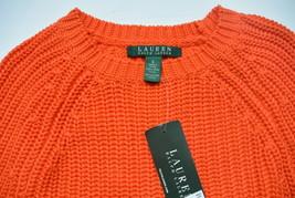 Ralph Lauren Maglione S Maniche Raglan Girocollo Cotone Arancione Coste Pullover - $50.09