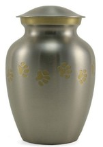 Small/Keepsake Pewter Brass Paw Print Cremation Urn, 85 cubic inches - $109.99