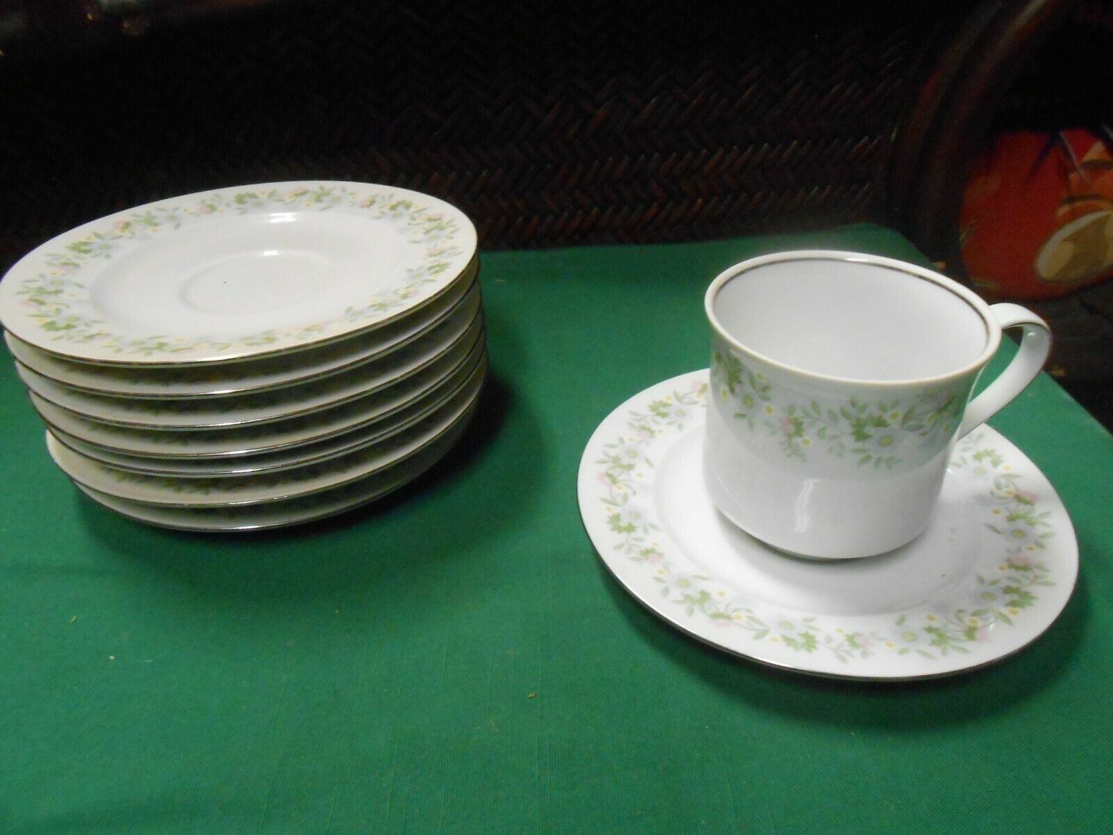 "Primary image for Beautiful JOHANN HAVILAND ""Forever Spring""...Set of 7 SAUCERS & 1 CUP and SAUCER"