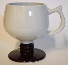 Hall ~ Footed Pedestal Brown & White Coffee Cup Mug #2274 ~ Made In U.S.A. - $19.95