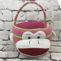 Sock Monkey Basket Girls Pink lime green Stripe Easter Basket - $12.86