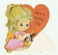 Vintage Valentine Card Girl Combs Doll's Hair 1960's Hallmark With Envelope - $7.91
