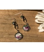 Recycled Broken Porcelain Jewelry, Purple Round Floral w/ Long Cat Charm - $35.64