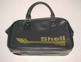 "Shell Sport Vintage Black Gold Travel Carry-on Vinyl Bag 11"" x 19"" x 6"" - $59.39"