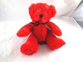 "Russ Berrie Christmas Red Teddy Bear Plush 10"" Sparkly Irridescent accen... - $12.86"