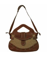 Patricia pepe wool metallic brown leather handbag shoulder fabric - $198.31