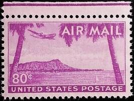 1952 80c Diamond Head, Hawaii, Volcanic Tuff Cone Scott C46 Mint F/VF NH - $2.99