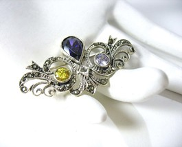 Sterling Marcasite Brooch, Purple Amethyst, Yellow Citrine, Victorian Re... - $22.00