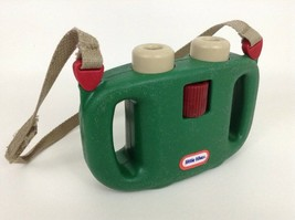 Vintage Little Tikes Green Toy Plastic Adjustable Focus Binoculars w Carry Strap - $21.73