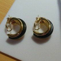 Trifari TM Gold-tone & Black Enamel Half Hoop Clip-on Earrings  - $26.72