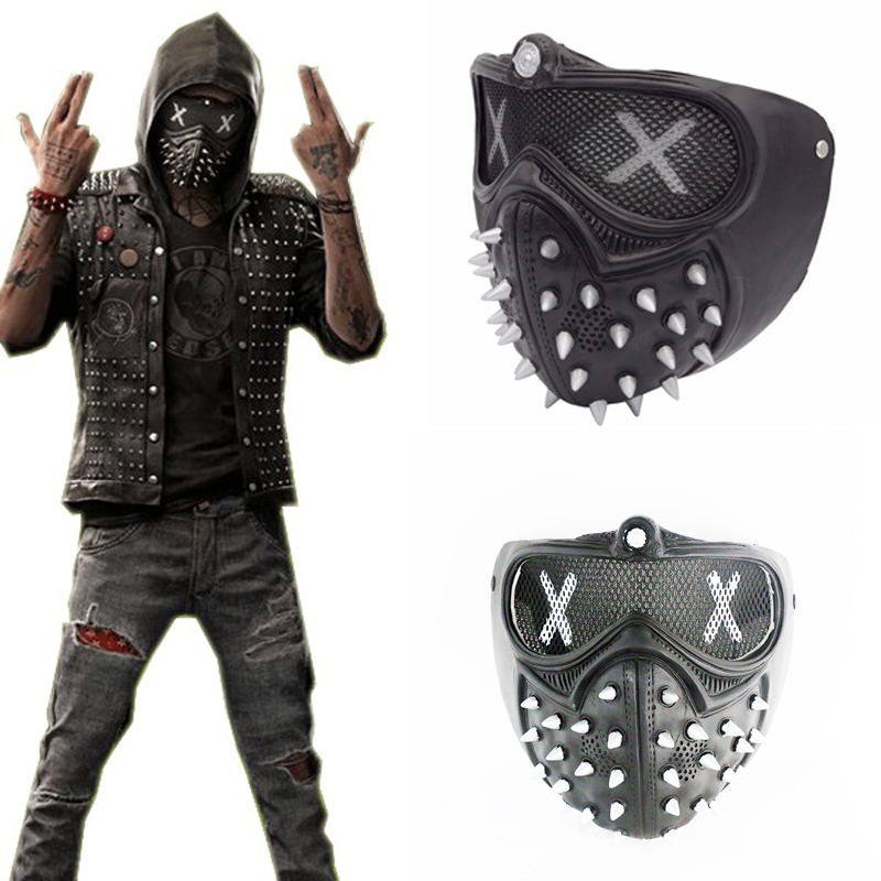 1a watch dogs 2 mask wrench cosplay rivet masks party halloween game props pvc black