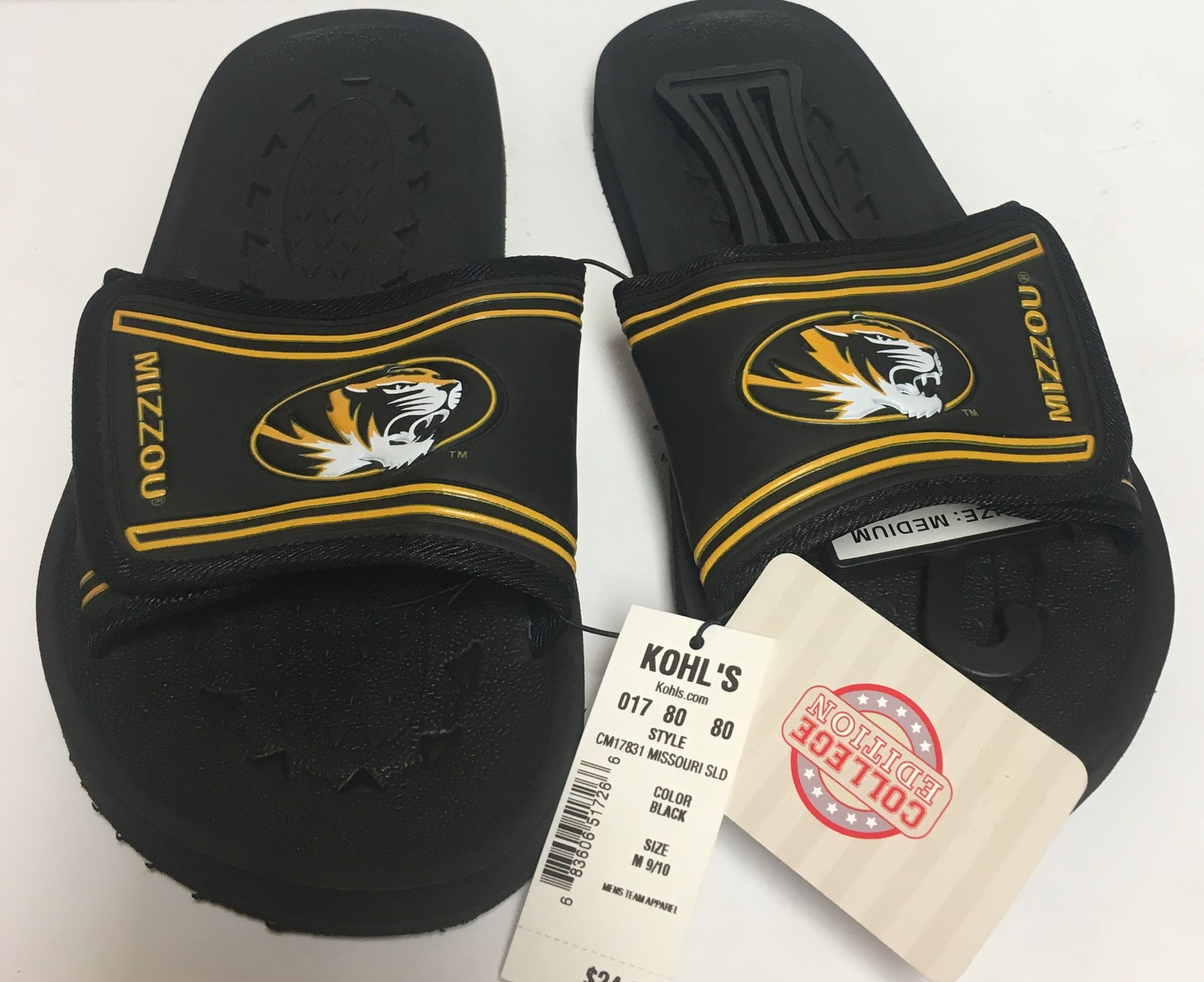 Missouri Tigers Mizzou Sandals Shoe Men's Various Sizes