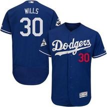 Men's Los Angeles Dodgers #30 Maury Wills Cool Base MLB Blue Jerseys  - $64.99
