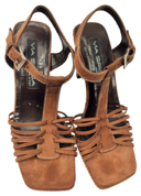 Via Spiga Pre-owned Brown Suede Strappy Italian Sandals, Sz. 7.5 MSRP $225