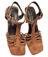 Via Spiga Pre-owned Brown Suede Strappy Italian Sandals, Sz. 7.5 MSRP $225 - $34.65