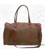 "21"" Brown Faux Leather Tote Bag Duffle Luggage Carry-On Travel Lined - $22.95"