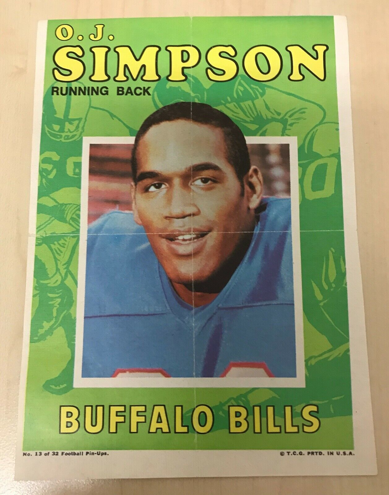 1971 Topps Football Pin-Ups #13 OJ Simpson Buffalo Bills