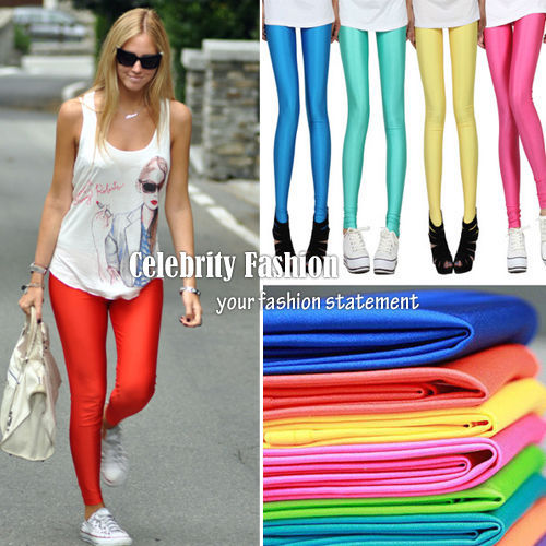 Primary image for ac13 Celeb Style 80s Shiny Neon Metallic Coloured Gym Workout Fitness Leggings
