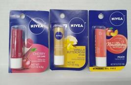 Nivea Buttercream + Nivea Peach Tinted + Nivea Cherry Lip Care 0.17 oz - $9.89