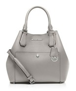 NWT Michael Kors Greenwich Satchel Shoulder Bag Pearl GREY Leather $390+... - $238.00
