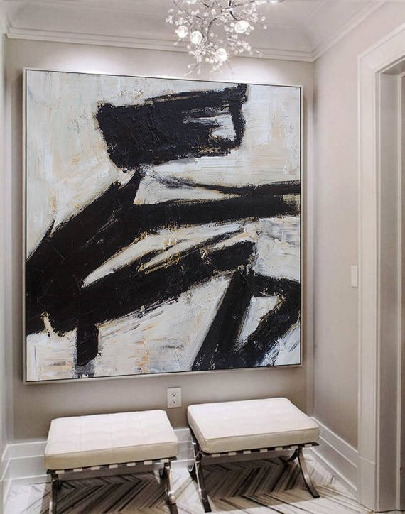 Black white abstract art large canvas oil painting art