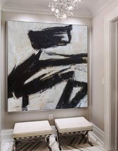Black White Abstract Art Large Canvas Oil Painting Art - $115.69+