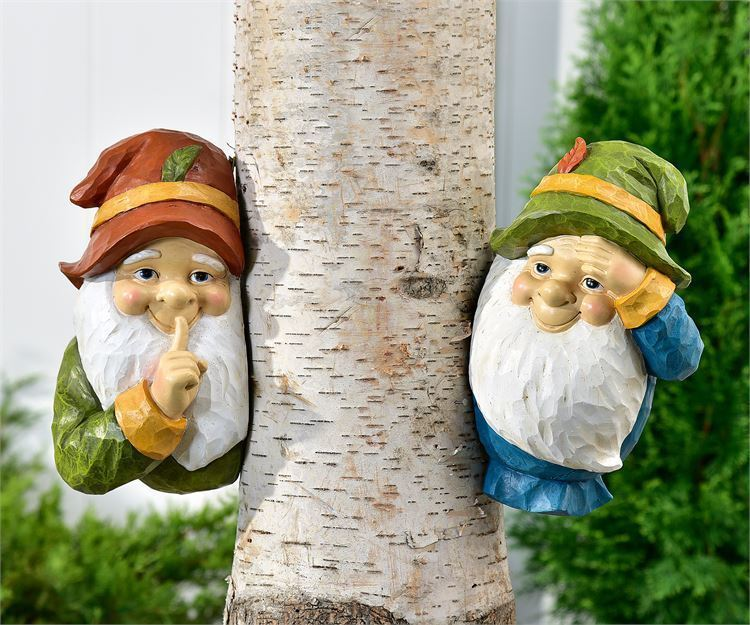 Gnome Tree Peekers w Long White Beards & Black Eyes Set of 2 Polystone Yard Art