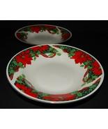 2 Holiday Dessert Soup Bowls Gibson Houseware Christmas Holly Ribbon Poi... - $27.71