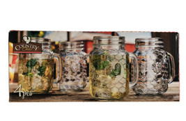 Set of 4 Country Chic 16 Oz. Rooster Mason Drinking Jars, Clear New - $29.69