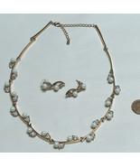 Beautiful Gold Tone Faux Pearl Choker Necklace & Earring Set Fashion Jew... - $22.75