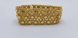 Vintage Crown Trifari 1959-69 Wide Gold Tone Honeycomb Design Bracelet EUC - $87.22