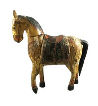 Old Horse Statue Handmade Antique Vintage Collectible Carved Painted Figure - $257.45