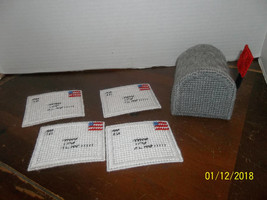 handmade plastic canvas mailbox & letters coaster set with holder - $19.99